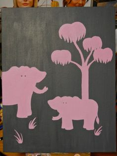 Pink Elephant Painting for Baby Room 11x14 Acrylic by VCBCArtist, $20.00