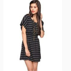 Black with White Striped Dress Casual Dress Forever 21 Dresses