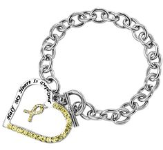 Help Veterans - Support our Troops - Half My Heart is Deployed Yellow Ribbon Bracelet