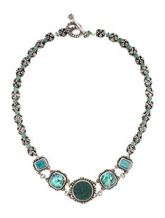 $316.00    ** the strings are loose!** Sterling silver Stephen Dweck multi-stone necklace featuring topaz and druzy stations and toggle closure.