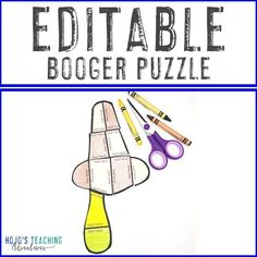 FREE Editable Booger or Snot Puzzle for Elementary Kids - great for 2nd, 3rd, 4th, 5th, or 6th grade kids - math, literacy, and more! (Foreign language teachers LOVE these!) 5th Grade Classroom, Special Education Classroom, Literacy Centers, Math Literacy, Fifth Grade, Third Grade, Health Lessons, Problem And Solution, Math For Kids