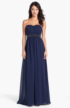 Jessica Simpson Beaded Waist Pleated Strapless Gown available at #Nordstrom