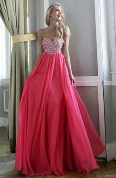 Coral Beaded Top Long Prom Dresses 2014