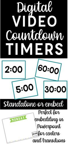 Timers can be important classroom management tools.These Digital Video Countdown Timers are perfect embedded into your Powerpoints to time and signal centers rotations or classroom activities. You can use these Video Countdown Timers to show students the time remaining or to challenge them to beat their previous time on a task. These countdown timers can also be used for individual students to help motivate them and keep them focused on a task, and are a great IEP or 504 accommodation tool.