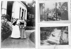 À esquerda, Maria Antonieta Correa com o cachorrinho em seu colo. Detalhes da casa podem ser observados: a escada e as paredes da entrada principal e o terraço de um dos quartos. Fotos: acervo da família.