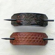 My favorite childhood (jr high) accessory now available again on Etsy!  +++ Retro Style Leather Hair Barrettes with Sticks on Etsy, $10.92 CAD