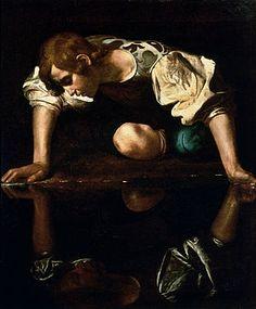 Narcissus - Caravaggio. 1597-99. Oil on canvas. 110 x 92 cm. Galleria Nazionale d'Arte Antica, Rome, Italy.