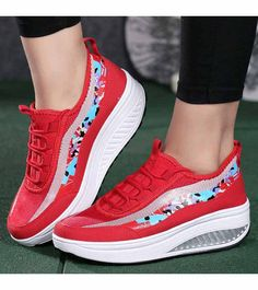 Women's #red pattern leather lace up #rocker bottom sole shoe sneakers, lightweight, mix color pattern, casual, leisure occasions.