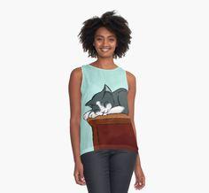 Napping Kitty Contrast Tank #cats #pets #animals #nap #kitty