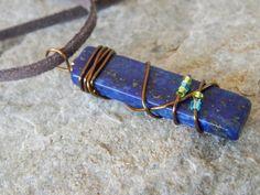 Wire Wrapped Lapis Lazuli Pendant Necklace by UniqueChiqueJewelry