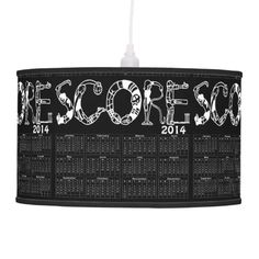 2014 Year At A Glance Score Calendar Pendant Lamps in black and white for the game room. http://www.zazzle.com/2014_year_at_a_glance_score_calendar-256456453842872596?rf=238575087705003771