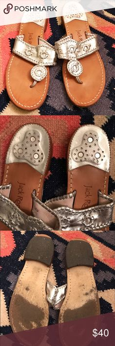 Jack Rogers Silver Hamptons Sandal size 10 Jack Rogers silver Hamptons sandal in size 10. There is some wear on the silver heel cap and on the bottom of the shoe,  but they still look great and are perfect for upcoming spring and summer events! Jack Rogers Shoes Sandals