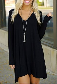 Simple Plunging Neck Long Sleeve Pure Color Women's Dress Long Sleeve Dresses | RoseGal.com Mobile