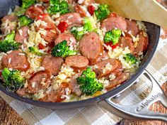 Smoked Sausage & Cheesy Rice - Brown Rice
