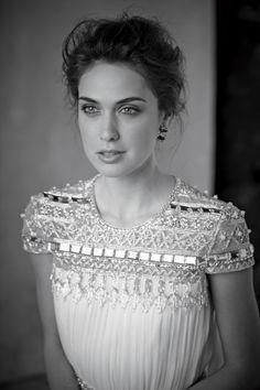 Dress by Naeem Khan, embellished short sleeve modest dress.