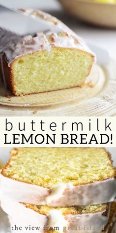 Delicious Lemon Buttermilk Bread Buttermilk Lemon Bread is a moist lemon quick bread with a super tangy glaze, enjoy it for breakfast, for a coffee break, or with afternoon tea. Quick Bread Recipes, Banana Bread Recipes, Easy Cake Recipes, Healthy Dessert Recipes, Easy Desserts, Sweet Recipes, Baking Recipes, Delicious Desserts, Desserts With Lemon
