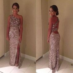 Wholesale 2014 Prom Dresses - Buy Sparkly Glitter Prom Dresses Sequin Long 2014 Sexy One Shoulder Crystal Sequin Backless Front Slit Evening Dresses Floor Length, $112.05 | DHgate.com: