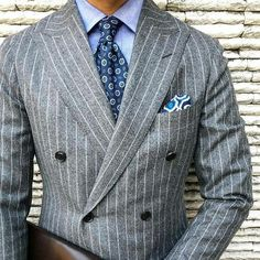 Double Breasted Pinstripe Suit, Grey Pinstripe Suit, Der Gentleman, Gentleman Style, Mens Fashion Blog, Mens Fashion Suits, Sharp Dressed Man, Well Dressed Men, Dress Suits