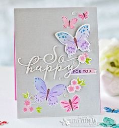 Paper, Scissors and Superheroes: Color Pop Butterflies. Purple Butterfly, Butterfly Cards, Flower Cards, Card Making Tutorials, Making Ideas, Origami Cards, Scrapbook Paper Crafts, Paper Crafting, Scrapbooking