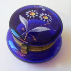 Adorable antique miniature cobalt blue glass hand painted dresser box | eBay