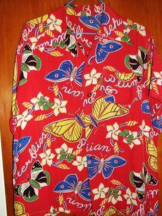 Vintage 1940s Hawaiian Butterflies Pulelehua's Aloha Shirt