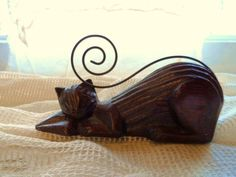 Vintage Carved Wooden Laying CAT with Curled Metal Tail- Unique Wooden Kitty Cat- Wooden Cat Figurine on Etsy, $9.00
