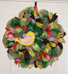 Spring Deco Mesh Wreath - Green, pink, yellow, canvas