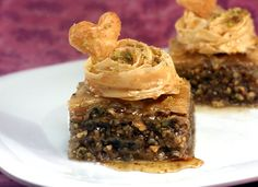 Doesn't this baklava look delicious?  I love the phyllo pastry rose on top.