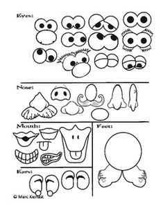Mr. Potato Head Printables. Could cut out color and laminate for re-use