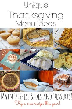 Unique Thanksgiving Menu Ideas.  Main dishes, sides and desserts!  Try a new recipe this year!