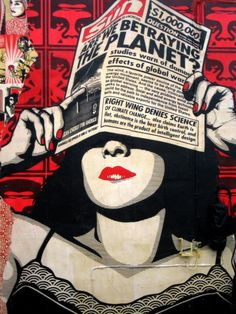 Famous Los Angeles-based street artist Shepard Fairey's murals at Wynwood Kitchen & Bar - part of the #Wynwood Walls in #Miami. Fairey's murals adorn the restaurant both inside and out. #obeygiant