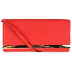 Michael Kors Women's Tilda Saffiano Leather Mandarin Red Clutch Bag found on Polyvore