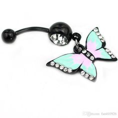 2016 Sexy Gem Personality Lovely Hollow Colorful Butterfly Belly Button Ring…
