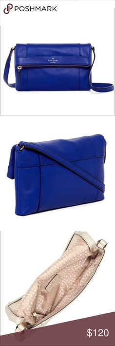 """SALE 🎉HP🎉 Kate Spade Julian Leather Crossbody 🎉Best in Bags Host Pick 9/14/16🎉 Kate Spade Julian Leather Crossbody. Beautiful blue color. Still in packaging with tags attached. Details: - Single shoulder strap - Foldover flap with magnetic closure - Exterior features zip compartment  - Interior features zip pocket - Approx. 6"""" H x 10"""" W x 0.75"""" D - Approx. 22"""" strap drop kate spade Bags Crossbody Bags"""