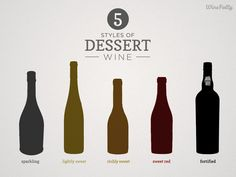 Dessert Wine Guide Infographic.   Most dessert wines can be categorized into 5 styles: Sparkling, Light and Sweet, Rich and Sweet, Sweet Red and Fortified.