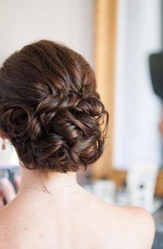 2014 messy back bun bridal hairstyle, brown braid hair.