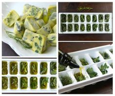 Great idea! Frozen herbs in olive oil ~ Ervas congeladas no azeite. Veja mais em http://culinariaegastronomia.wordpress.com/