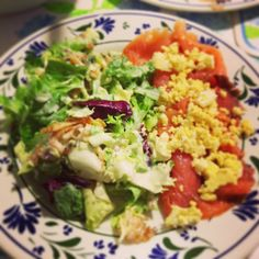 mix lead salad with smoked salmon and boiled egg!