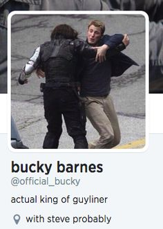 """OMG, I just realized on the twitter account, Bucky's location is set at: """"with Steve probably"""" and instead of finishing up my final essay, I spent the next few precious minutes just laughing. my. ass off."""