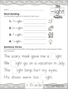 The ight Word Family: Skill-Building Activity Pages: Word Family Practice Page