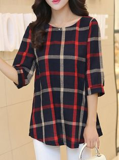 Red Half Sleeve A-line Plaid Blouse - moda Kurta Designs, Short Kurti Designs, Blouse Designs, Trendy Toddler Girl Clothes, Clothes For Women, Mode Outfits, Casual Outfits, Long Gowns Online, Fashion Sets