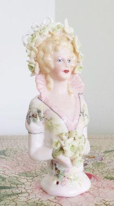 Caroline Bridal Handpainted Porcelain Pin Cushion Half Doll #Handmade
