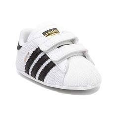 Get your little champion started on the right foot with the new Superstar Athletic Shoe from adidas! These little Superstar Infant crib shoes sport soft mesh uppers with synthetic leather overlays, signature adidas side stripes, and dual hook-and-loop straps for easy on and off.