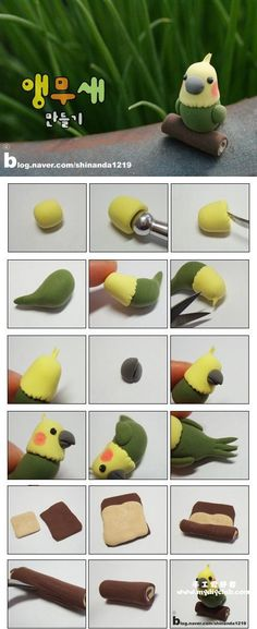 韩国的超轻粘土,Clay Crafts, Fimo, Sculpey , Modelling , Polymer Crafts with Sculpting clay , Free Kids Activities , Clay Projects, Templates and Ideas , Cute, Adorable , Kawaii, Critters and Creatures,Japanese crafts miniature , dollshouse,Japan Crafts, parrot, bird