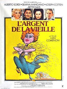 Bette Davis, Alberto Sordi, Silvana Mangano, Joseph Cotten dans L'Argent de la vieille de Luigi Comencini, 1972.