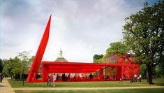 """rouge nouvel Non, ce n'est pas une des """"Folies"""" de Bernard Tschumi dans le Parc de la Villette, mais la proposition rutilante de notre Jean Nouvel pour le pavillon d'été de la Serpentine Gallery dans les jardins de Kensington à Londres..."""