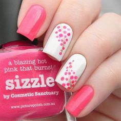 60 Stylish Nail Designs for Nail art is another huge fashion trend besides the stylish hairstyle, clothes and elegant makeup for women. Nowadays, there are many ways to have beautiful nails with bright colors, different patterns and styles. Nail Art Rosa, Dot Nail Art, Pink Nail Art, Polka Dot Nails, Polka Dots, Stylish Nails, Trendy Nails, Dot Nail Designs, Nails Design