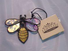"NEW* J Devlin GLASS ART ""BEE"" Ornament/Window Suncatcher/Fast-Free-Shipping"