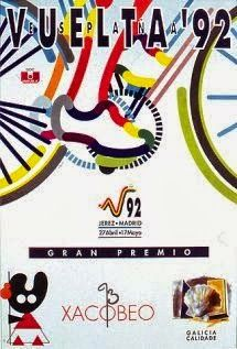 1992 Vuelta a Espana Poster. Keeping with the abstract images, 1992 gave us a multi-coloured outline to the rider. We also like the little character in the bottom left corner. Bike Poster, Bicycle Art, Design Poster, Cycling Art, Abstract Images, Tours, Sport, Face, Wheels