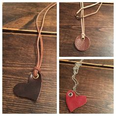 Leather Heart or Circle Essential Oil Diffuser Necklace with additional leather grommet pads-Aromatherapy Necklace